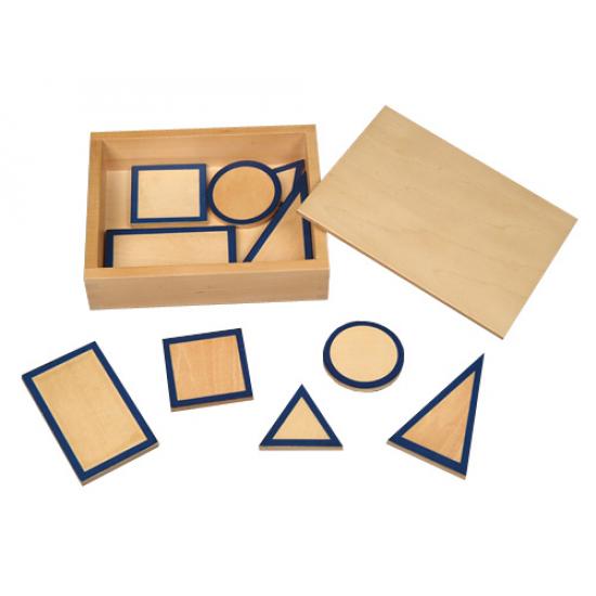 Дървени геометрични карти в кутия - Монтесори материали