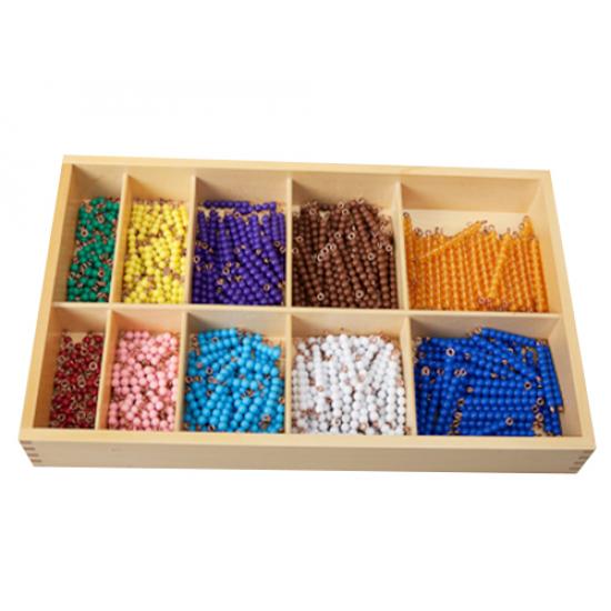 Математическа кутия с нанизи от цветни мъниста от 1 до 10 по 55 от вид - Монтесори материали