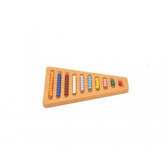 Нанизи с цветни мъниста с дървена поставка - Монтесори материали
