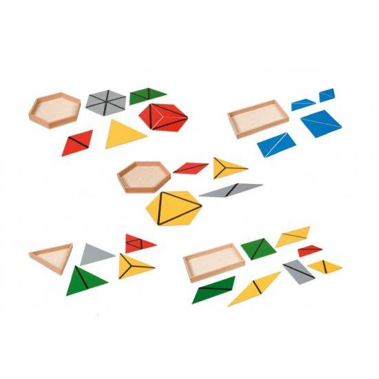 Конструктивни триъгълници - 5 кутии - Монтесори материали