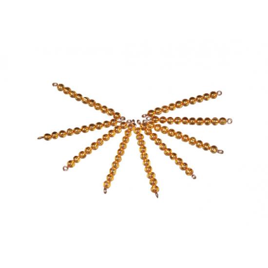 9 наниза с по 10 златисти мъниста - Монтесори материали