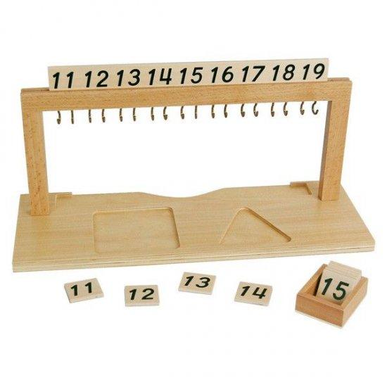 Рамка за нанизи за асоцииране на число с количество от 11 до 19 - Монтесори материали